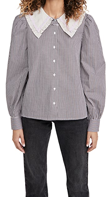 ENGLISH FACTORY Gingham Check Long Sleeve Blouse