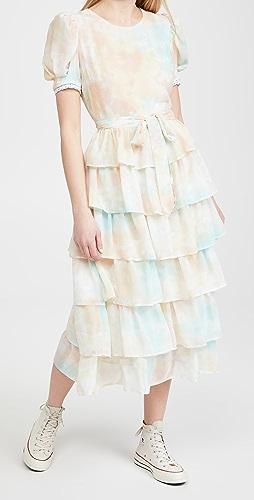 ENGLISH FACTORY - Tie-Dye Tiered Midi Dress
