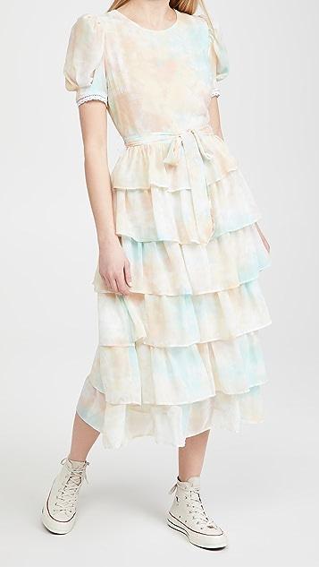 ENGLISH FACTORY 扎染层褶中长连衣裙