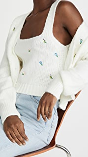 ENGLISH FACTORY Embroidered Knit Top