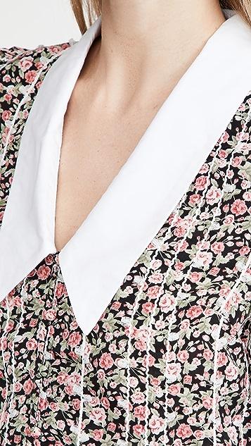 ENGLISH FACTORY Floral Trim Detail V Neck Collar Blouse