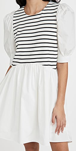 ENGLISH FACTORY - High Low Stripped Knit Combo Dress