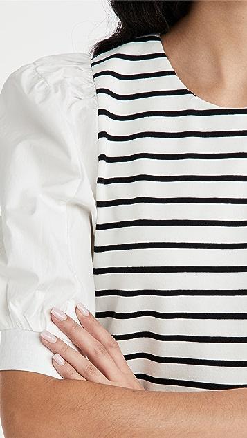 ENGLISH FACTORY 条纹针织拼接连衣裙