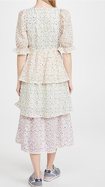 ENGLISH FACTORY Multi Color 3 Tier Ruffle Dress