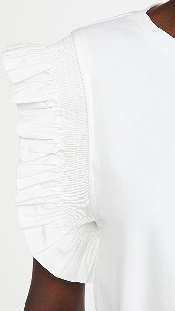 ENGLISH FACTORY Poplin Knit Mixed Ruffle Detail Top