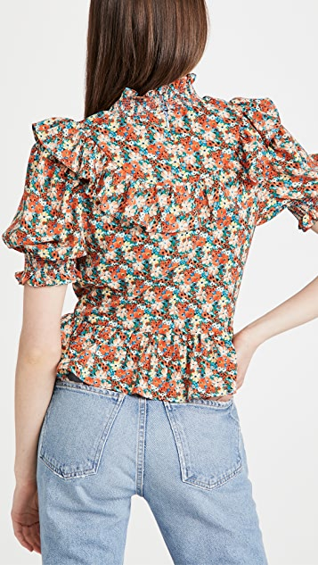 ENGLISH FACTORY Floral Ruffle Detail Top