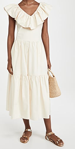 ENGLISH FACTORY - Ruffle Neck Sleeveless Midi Dress