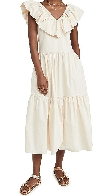 ENGLISH FACTORY Ruffle Neck Sleeveless Midi Dress