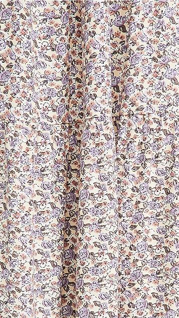 ENGLISH FACTORY 花卉荷叶边衣袖长连衣裙