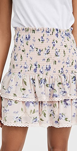 ENGLISH FACTORY - Floral Smocked Ruffled Skirt