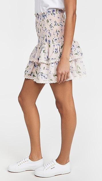 ENGLISH FACTORY 花卉抽褶褶边半身裙