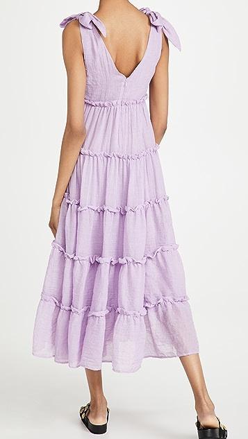 ENGLISH FACTORY 层褶中长连衣裙