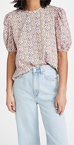 ENGLISH FACTORY - Floral Puff Sleeve T-Shirt