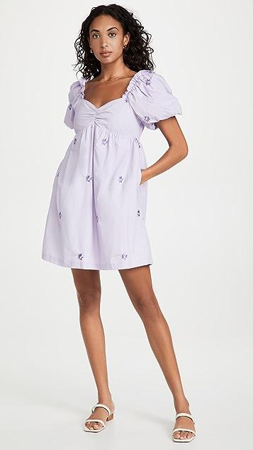 ENGLISH FACTORY 花卉刺绣娃娃装连衣裙