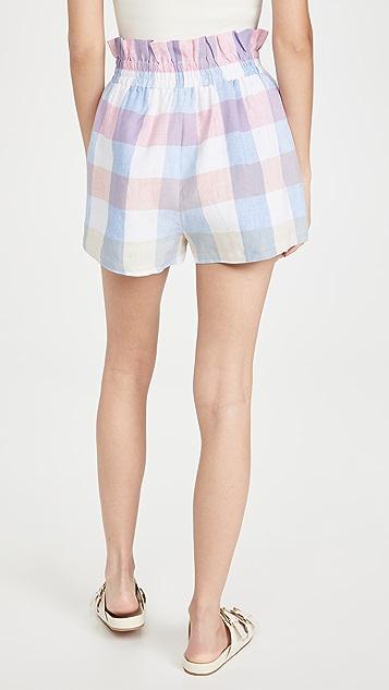 ENGLISH FACTORY Gingham Ruffle Shorts