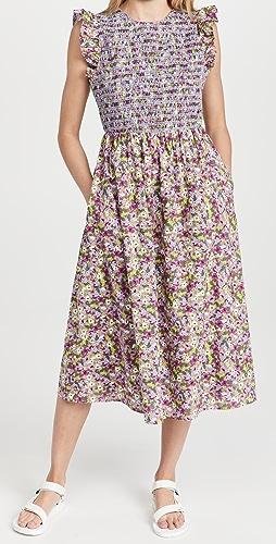 ENGLISH FACTORY - Floral Smocked Midi Dress
