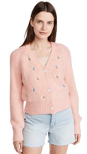 ENGLISH FACTORY Embroidered Knit Cardigan