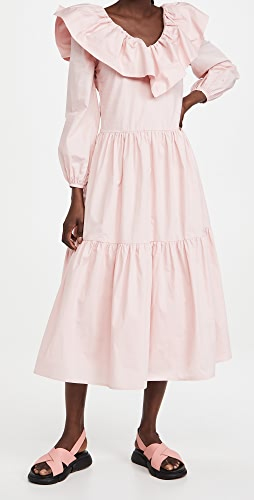 ENGLISH FACTORY - Ruffled Neck Midi Dress