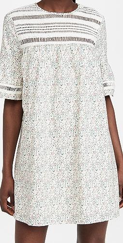 ENGLISH FACTORY - Floral Lace Trim Dress