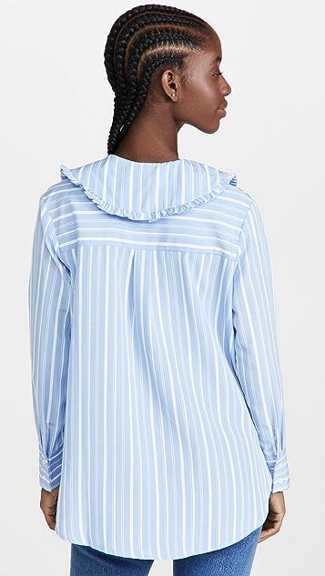 ENGLISH FACTORY Ruffled Collar Striped Shirt