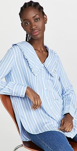 ENGLISH FACTORY - Ruffled Collar Striped Shirt