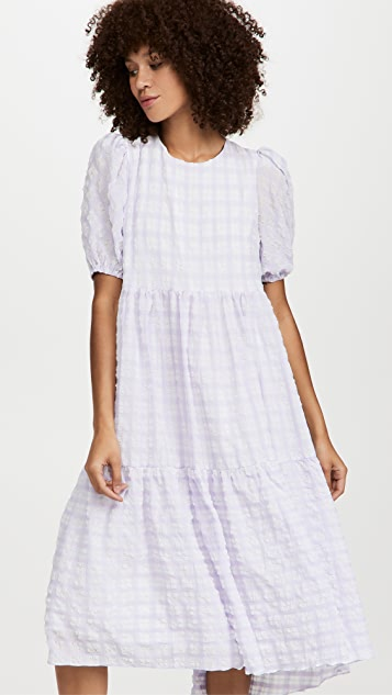 ENGLISH FACTORY Tiered Gingham Maxi Dress