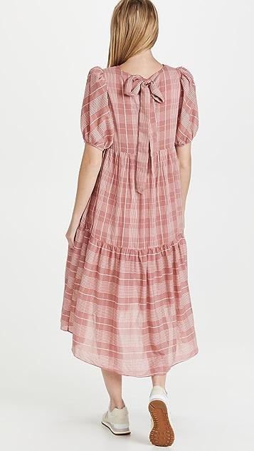 ENGLISH FACTORY Plaid Midi Dress