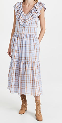 ENGLISH FACTORY - Plaid Midi Dress with Ruffle Neck