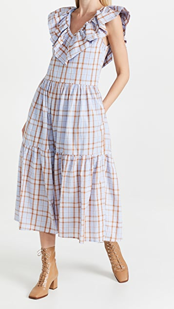 ENGLISH FACTORY Plaid Midi Dress with Ruffle Neck