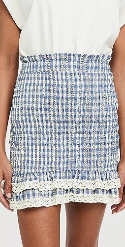 ENGLISH FACTORY - Gingham Smocked Skirt