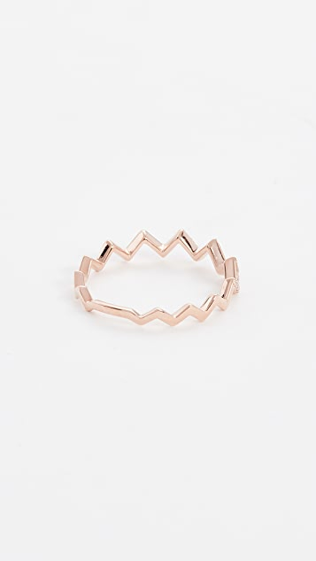 EF Collection 14 Gold Pave Diamond Zigzag Stack Rings