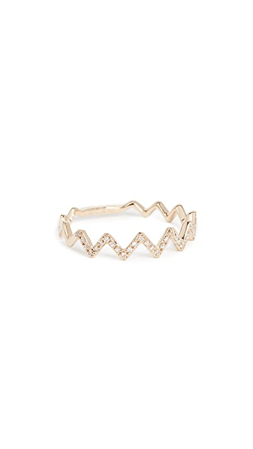 EF Collection 14k Gold Pave Diamond Zigzag Stack Ring