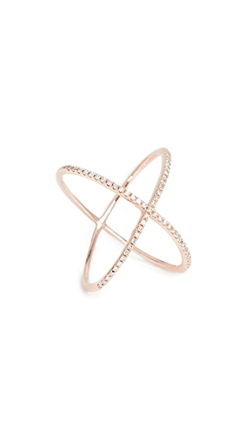EF Collection 14k Gold Pave Rose Gold Diamond X Ring