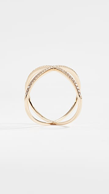 EF Collection 14k Gold Pave Gold Diamond X Ring