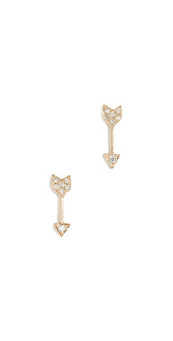EF Collection 14k Gold Diamond Mini Arrow Stud Earrings - Yellow Gold/Clear