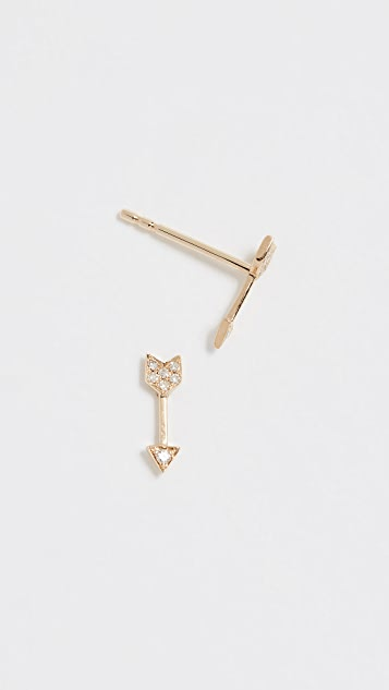 EF Collection 14K 金钻石迷你箭头耳钉