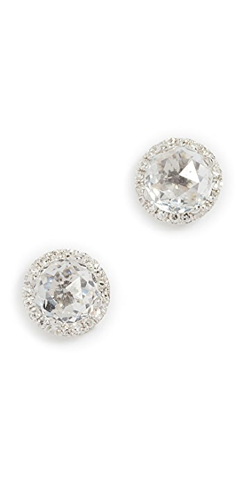 EF Collection 14k Gold Diamond White Topaz Stud Earrings - Clear/White Gold