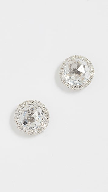 EF Collection 14k Gold Diamond White Topaz Stud Earrings