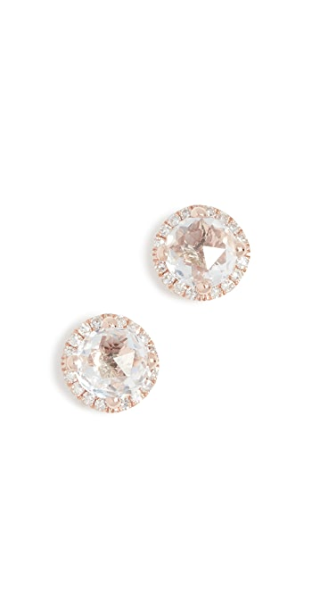EF Collection 14k Diamond White Topaz Stud Earrings - Clear/Rose Gold