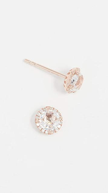 EF Collection Diamond White Topaz Stud Earrings