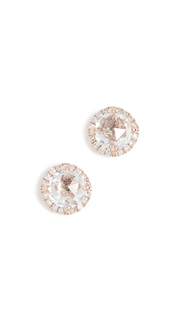 EF Collection 14k Diamond White Topaz Stud Earrings