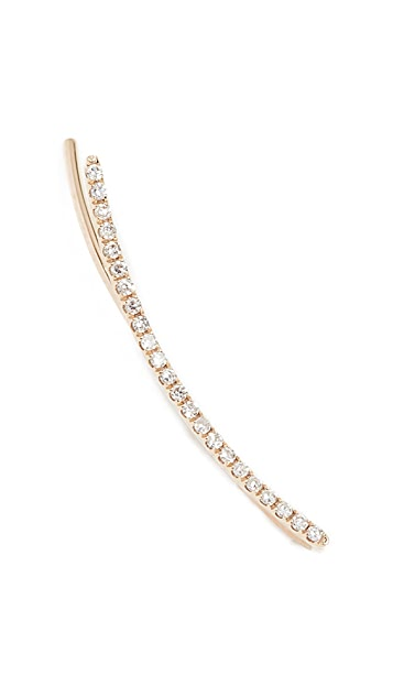 EF Collection 14k Gold Floating Curved Bar Earring