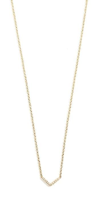EF Collection 14k Gold Diamond Mini Chevron Necklace - Gold/Diamond