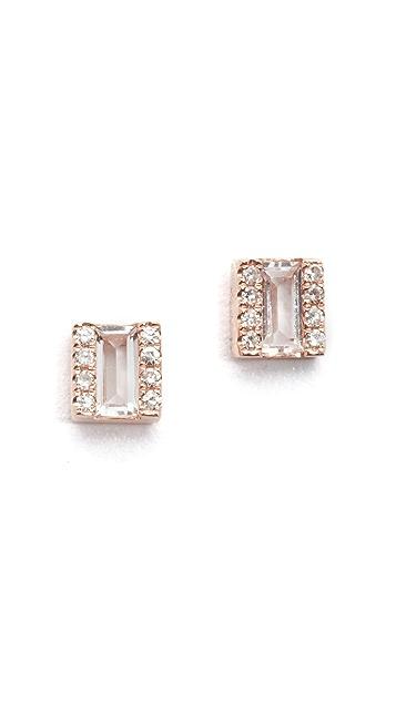 EF Collection Diamond White Topaz Brick Stud Earrings