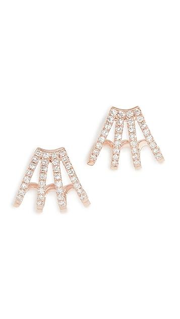 EF Collection 14K 金多钻石贴耳耳环