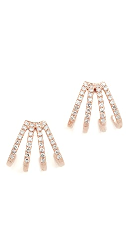 EF Collection - 14K 金多钻石贴耳耳环