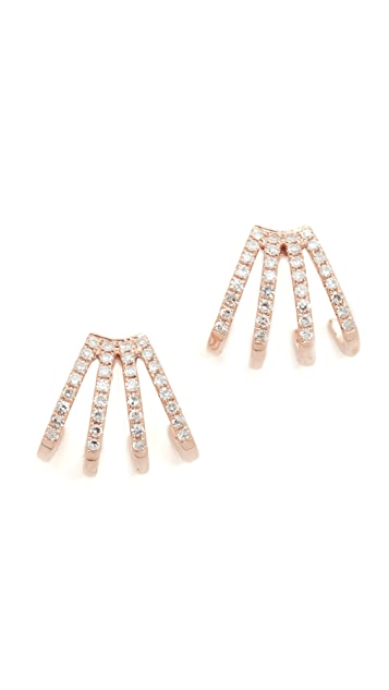 EF Collection 14k Gold Multi Diamond Huggie Earrings