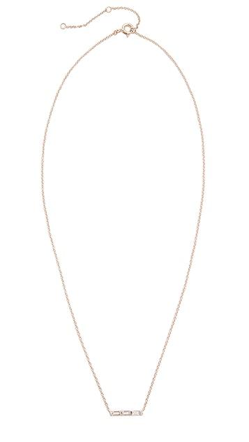 EF Collection 14k Gold Diamond White Topaz Mini Bar Necklace