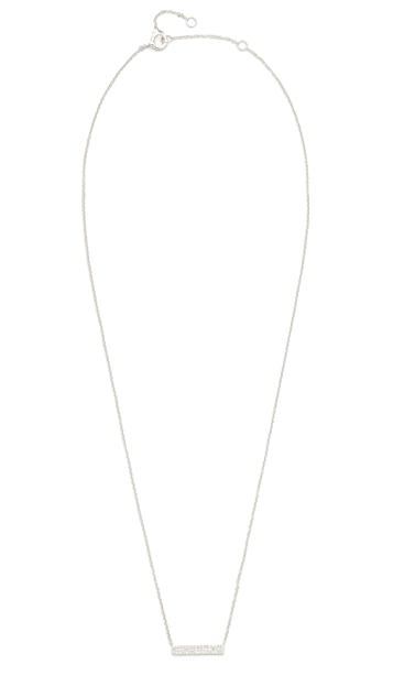 EF Collection 14k White Gold Mini Diamond Bar Necklace