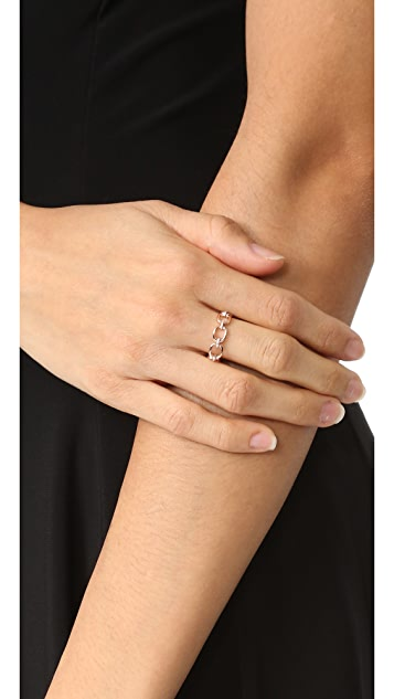 EF Collection 14k Rose Gold Partial Diamond Chain Link Ring